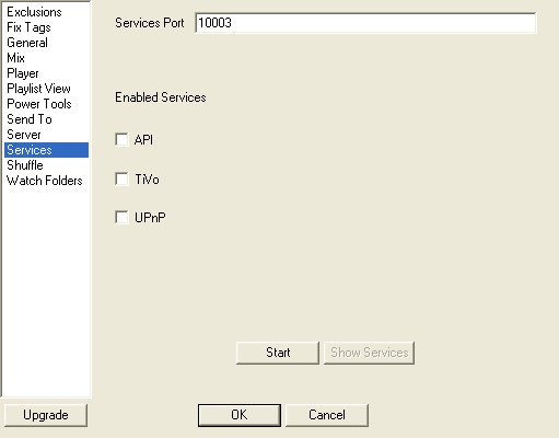 MusicIP Service Settings
